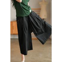 Casual pants Black, green, khaki Average size Summer 2021 Ninth pants Wide leg pants Natural waist original routine 51% (inclusive) - 70% (inclusive) FKZ135 other Three dimensional cutting cotton Asymmetry