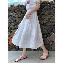 skirt Spring 2021 Average size white Mid length dress Versatile High waist A-line skirt Solid color Type A 18-24 years old