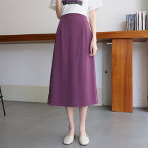 skirt Spring 2021 Average size Purple, black Mid length dress Versatile High waist A-line skirt Solid color Type A 18-24 years old