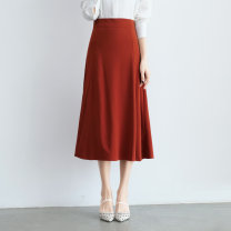 skirt Spring 2021 S,M,L,XL Black, blue, orange, light khaki longuette Versatile High waist A-line skirt Solid color Type A