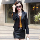 leather clothing Love of brother Hua Spring 2021 M. L, XL, XXL, XXL black routine Long sleeves Self cultivation commute tailored collar zipper routine Sheepskin Nail bead 25-29 years old