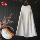 skirt Summer of 2019 Average size Yellow, black, white, hemp, orange longuette commute Natural waist A-line skirt Solid color Type A More than 95% other hemp fold literature
