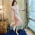 Dress Autumn of 2019 Picture color S,M,L,XL,2XL Mid length dress singleton  Long sleeves commute Doll Collar middle-waisted Ruffle Skirt routine lady Frenulum 30% and below knitting Vinylon