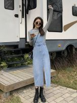 Dress Spring 2021 Blue, black S,M,L,XL Mid length dress singleton  Sleeveless commute High waist Solid color 18-24 years old Type H Simplicity 81% (inclusive) - 90% (inclusive) Denim