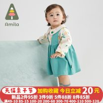 Dress green female Ah, Mila 73cm,80cm,90cm,100cm,110cm,120cm Other 100% spring and autumn leisure time Long sleeves Broken flowers cotton Princess Dress ALY508 3 months, 12 months, 6 months, 9 months, 18 months, 2 years old, 3 years old, 4 years old