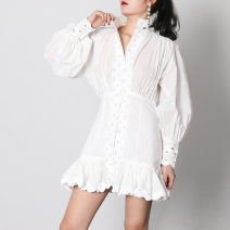 Dress Spring 2020 White, black S,M,L Short skirt singleton  Long sleeves street stand collar High waist Solid color Single breasted Ruffle Skirt bishop sleeve
