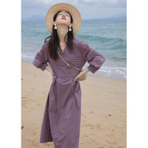 Dress Summer 2021 Light onion color, taro purple second batch S,M,L longuette singleton  three quarter sleeve street V-neck Socket routine 18-24 years old H1133 71% (inclusive) - 80% (inclusive) other other Europe and America