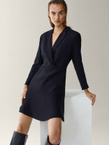 Dress Autumn 2020 black S,M,L Mid length dress singleton  Nine point sleeve commute Solid color Socket 25-29 years old Simplicity BSP-1012-007 30% and below polyester fiber