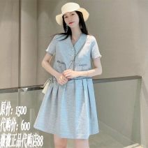 Dress Summer 2021 grey S 2, m 3, L 4, XL 5 Mid length dress singleton  Short sleeve commute V-neck middle-waisted Dot other Ruffle Skirt other Others Type A Brother amashi lady Women's high end big brand fashion small fragrance dress 1500351-7062372-001 More than 95% Chiffon Cellulose acetate
