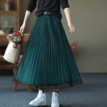 skirt Winter 2020 Average size Black, gray, peacock blue, bean paste Mid length dress commute Natural waist Pleated skirt Solid color Type A QZ8820 Retro