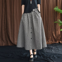 skirt Summer of 2019 Average size Black, red, yellow Mid length dress commute Natural waist A-line skirt lattice Type A 30-34 years old QZ3623 51% (inclusive) - 70% (inclusive) hemp Retro