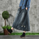 skirt Autumn of 2018 Average size monochrome Mid length dress Versatile Natural waist A-line skirt Solid color Type A 30-34 years old QZ1871 More than 95% Denim cotton Embroidery, pocket