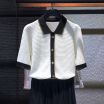 Wool knitwear Summer 2021 2-s, 3-m, 4-L, 5-xl Off white, black, off white long sleeves, black long sleeves Long sleeves singleton  Cardigan other 31% (inclusive) - 50% (inclusive) Regular routine commute Self cultivation Polo collar routine Solid color Single breasted Korean version Heather
