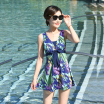 one piece  Wallert L,XL,4XL,5XL,2XL,3XL Black leaf, Navy leaf, royal blue stripe, Navy Stripe, black parrot, blue parrot Skirt one piece With chest pad without steel support Polyester, spandex, others, nylon H9903 female Sleeveless Casual swimsuit
