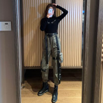 Fashion suit Spring 2021 S [suggested 80-100 kg], m [suggested 100-110 kg], l [suggested 110-120 kg], XL [suggested 120-130 kg] Black T-shirt, green overalls, suit [two piece set] 18-25 years old A&HX-0-10 51% (inclusive) - 70% (inclusive) cotton