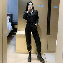 Jumpsuit / pants 51% (inclusive) - 70% (inclusive) Ninth pants polyester fiber High waist street Black Jumpsuit [button style], black Jumpsuit [zipper style] S [suggested 80-98 kg], m [suggested 98-108 kg], l [suggested 108-118 kg], XL [suggested 118-130 kg] routine Spring 2021 Overalls A&HX-0-10