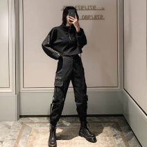 Fashion suit Spring 2021 S [suggested 80-100 kg], m [suggested 100-110 kg], l [suggested 110-120 kg], XL [suggested 120-130 kg] Black sweater, black overalls, black suit 18-25 years old A&HX-0-10 51% (inclusive) - 70% (inclusive) cotton