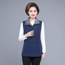 Middle aged and old women's wear Autumn 2020 Navy, red, watermelon red XL,XXL,XXXL,4XL,5XL Vest easy singleton  50-59 years old Cardigan moderate Polo collar routine pocket zipper