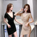 Dress Spring 2021 Black, complexion S,M,L,XL Short skirt singleton  Short sleeve commute V-neck High waist Solid color Socket One pace skirt routine Others 18-24 years old Type H Korean version Hollowed out, open back, wrinkled 71% (inclusive) - 80% (inclusive) brocade cotton