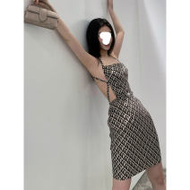 Dress Summer 2021 Decor XS,S,M,L Short skirt singleton  Long sleeves street Crew neck High waist zipper A-line skirt routine camisole 18-24 years old Type A 51% (inclusive) - 70% (inclusive) other polyester fiber Europe and America