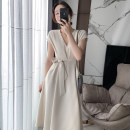 Dress Summer 2021 XS,S,M,L Mid length dress singleton  Short sleeve commute V-neck High waist zipper Big swing Flying sleeve 25-29 years old Type X FLOUNDER COUPLE Simplicity 71% (inclusive) - 80% (inclusive) other polyester fiber