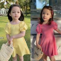 Dress Yellow, pink female Other / other 90cm,100cm,110cm,120cm,130cm,140cm Polyester 100% spring and autumn leisure time Short sleeve Solid color other A-line skirt other Chinese Mainland Guangdong Province Guangzhou City