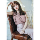 shirt Deep coffee shirt, deep coffee fishtail skirt, rubber powder shirt, rubber powder fishtail skirt S,M,L Summer 2021 polyester fiber 96% and above Sleeveless Sweet Regular stand collar Socket routine Solid color 25-29 years old Self cultivation 020HX0911 Chiffon