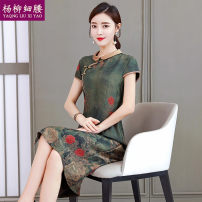 Dress Summer 2020 green L XL 2XL 3XL 4XL Mid length dress singleton  Short sleeve commute Crew neck middle-waisted Decor zipper A-line skirt routine Others 35-39 years old Type A Yaqng Liu Xi Yao / willow waist Retro printing YLXY1231# 71% (inclusive) - 80% (inclusive) other polyester fiber