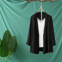suit Spring 2020 White black XL 2XL 3XL 4XL Long sleeves Medium length Self cultivation tailored collar No buckle commute routine Solid color 25-29 years old 96% and above polyester fiber The color of fat Button Polyester 100% Pure e-commerce (online only)