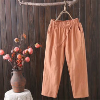 Casual pants White black orange XL 2XL 3XL 4XL Summer 2020 Cropped Trousers Haren pants Natural waist commute Thin money 25-29 years old 51% (inclusive) - 70% (inclusive) BYH212 The color of fat Cotton blended fabric pocket Cotton 59% flax 41% Pure e-commerce (online only)
