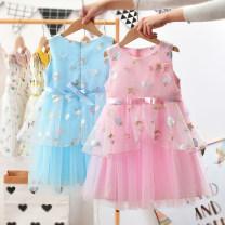Dress Pink, sky blue female Anemora / Eni Mengmeng Other 100% summer Korean version Skirt / vest Broken flowers cotton Splicing style Class B Chinese Mainland Guangdong Province Foshan City