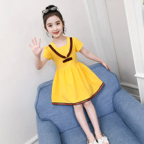 Dress Summer 2020 Pink a, yellow A, Navy a, pink B, yellow B, Navy B 110, 120, 130, 140, 150, 160 Mid length dress singleton  Short sleeve Sweet V-neck middle-waisted Solid color zipper Princess Dress routine Others Under 17 Type X Other / other More than 95% other cotton college