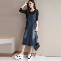 Dress Autumn of 2018 S M L XL Mid length dress Two piece set Long sleeves commute Crew neck Solid color Socket A-line skirt routine straps 25-29 years old Type A B good Korean version Pocket stitching strap 71% (inclusive) - 80% (inclusive) Denim cotton Cotton 76.5% polyester 21% others 2.5%