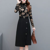 Dress Winter 2020 L XL 2XL 3XL 4XL 5XL Mid length dress singleton  Long sleeves commute Crew neck High waist Decor Socket One pace skirt routine Others 40-49 years old Type A Paulito printing More than 95% polyester fiber Other polyester 95% 5% Pure e-commerce (online only)