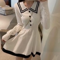 Dress Spring 2021 white Average size Short skirt singleton  Long sleeves commute Polo collar High waist Solid color Socket Ruffle Skirt routine Others 18-24 years old Type A Other / other Retro bow 0117+ other