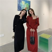 Dress Spring 2021 Red, black Average size Mid length dress Two piece set Sleeveless commute Crew neck High waist Solid color Socket A-line skirt other camisole 18-24 years old Type A Other / other Retro 0110+ 31% (inclusive) - 50% (inclusive) polyester fiber
