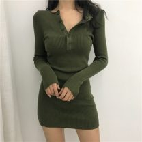 Dress Spring 2021 Black button dress, green button dress Average size Short skirt singleton  Long sleeves commute Crew neck High waist Solid color Socket A-line skirt routine Others 18-24 years old Other / other Retro 0117+