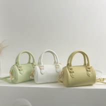 Bag The single shoulder bag PU Boston Bag Lena / delana Yellow, green, white, black brand new Japan and South Korea Small leisure time soft zipper no Solid color One shoulder cross carry nothing youth other Sewing Soft handle Certificate bag soft surface