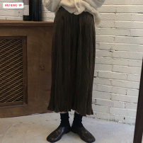 skirt Winter 2020 Average size (within 80kg ~ 130kg) Black Brown Mid length dress commute High waist Pleated skirt Solid color Type A 18-24 years old BSBY20201224T06 More than 95% other Basabai other Fold splicing Korean version Other 100% Pure e-commerce (online only)