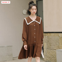 Dress Spring 2021 Brown Black Average size (within 80kg ~ 130kg) Mid length dress singleton  Long sleeves commute other High waist Solid color other A-line skirt shirt sleeve Others 18-24 years old Type A Basabai Korean version Stitching buttons BSBY20210222T19 More than 95% other other Other 100%
