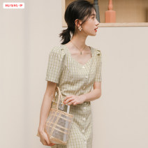 Dress Summer 2020 Blue and green S M L Mid length dress singleton  Short sleeve commute square neck High waist lattice Socket A-line skirt routine Others 18-24 years old Type A Basabai Korean version Lace up stitching button BSBY20200629T03 More than 95% other polyester fiber Polyester 100%
