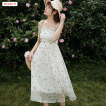 Dress Summer 2020 Fresh green star blue white sunscreen S M L XL longuette singleton  Sleeveless commute One word collar Loose waist Broken flowers Socket Big swing other camisole 18-24 years old Type A Basabai Korean version Pleated print BSBY20200326T05 More than 95% Chiffon polyester fiber