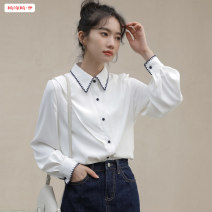 shirt White blue S M L XL Winter 2020 other 96% and above Long sleeves commute Regular Polo collar Single row multi button routine Solid color 18-24 years old Straight cylinder Basabai Korean version BSBY20201225T04 Embroidered stitching button Other 100% Pure e-commerce (online only)