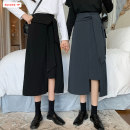 skirt Autumn 2020 S M L Black grey Mid length dress commute High waist Irregular Solid color Type A 18-24 years old BSBY20200813T06 More than 95% other Basabai other Lace up asymmetric button zipper stitching Korean version Other 100% Exclusive payment of tmall