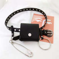 Belt / belt / chain Pu (artificial leather) female belt Versatile Single loop Youth Pin buckle Round buckle soft surface 2.4cm alloy Hollow chain Wet beauty 105cm Summer 2020