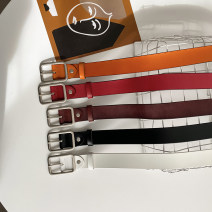 Belt / belt / chain Double skin leather Black red white Khaki female belt Versatile Single loop Youth Pin buckle other Glossy surface 3.2cm alloy Wet beauty SM-1464 105cm Autumn 2020