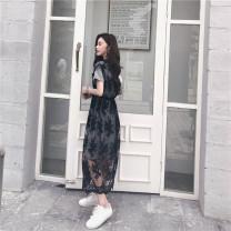 Dress Summer 2020 White, gray Average size longuette Two piece set Short sleeve Sweet Fang Xiaowen 51% (inclusive) - 70% (inclusive)