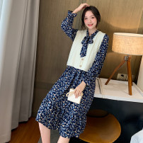 Dress Spring 2021 8182 # blue skirt, 8182 # black skirt, white vest, 8180 # blue floral skirt, 8180 # yellow floral skirt, 8181 # blue skirt, 8183 # floral skirt, 8184 # white floral skirt S,M,L,XL,2XL Mid length dress singleton  Long sleeves commute Doll Collar Elastic waist Broken flowers Type A