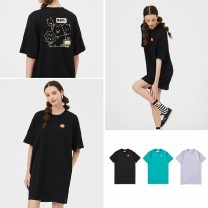 Dress Summer 2020 Black BKX, lavender ppl, blue BLM XXS,XS,S,M Short skirt singleton  Short sleeve street Crew neck More than 95% Sports & Leisure
