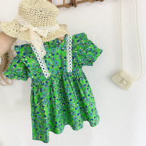 Dress green female Other / other 80cm,90cm,100cm,110cm,120cm,130cm Other 100% summer Korean version Short sleeve printing Pure cotton (100% cotton content) Princess Dress Class B 2 years old, 3 years old, 4 years old, 5 years old, 6 years old